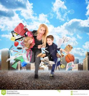 stress-mother-running-late-kids-city-school-work-rushing-her-children-funny-concept-44472363